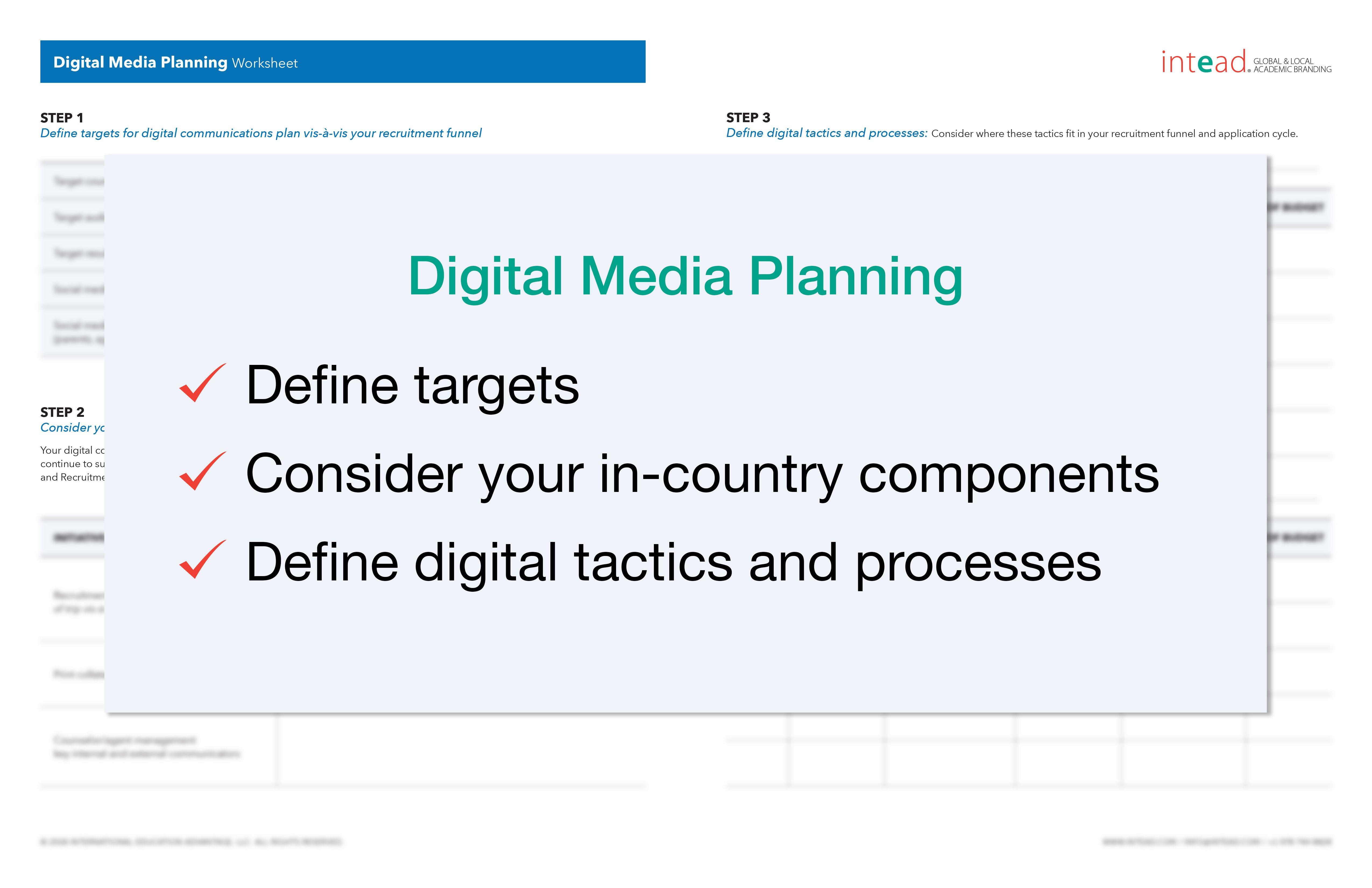 Digital Media Planning Worksheets